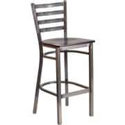 Flash Furniture HERCULES Series Clear Coated Ladder Back Metal Restaurant Barstool - Walnut Wood Seat (XUDG697CBARWAW)