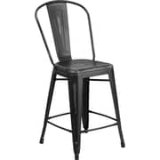 Flash Furniture 24'' High Distressed Metal Indoor Counter Height Stool with Back, Black (ET353424BK)