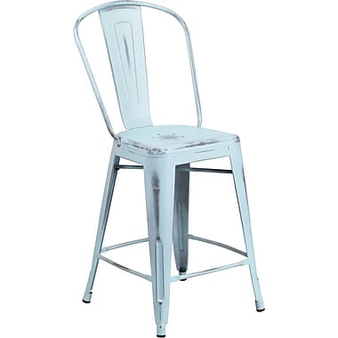 Flash Furniture 24'' Counter Height Stool with Back High Distressed Dream Blue Metal Indoor (ET353424DB)