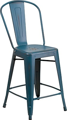 Flash Furniture 24'' High Distressed Kelly Blue Metal Indoor Counter Height Stool with Back (ET353424KB)