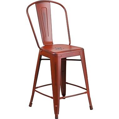 Flash Furniture – Tabouret de comptoir de 24 po avec dossier, pour l'intérieur, métal vieilli, rouge Kelly (ET353424RD)