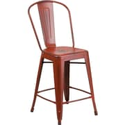 Flash Furniture 24''H Metal Indoor Counter Height Stool with Back, Distressed Kelly Red (ET353424RD)