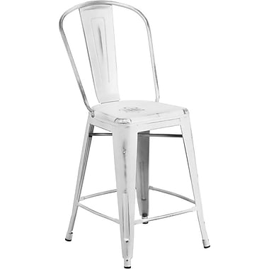 Flash Furniture 24''H Metal Indoor Counter Height Stool with Back, Distressed White (ET353424WH)