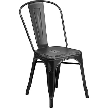 Flash Furniture Distressed Black Metal Indoor Stackable Chair (ET3534BK)
