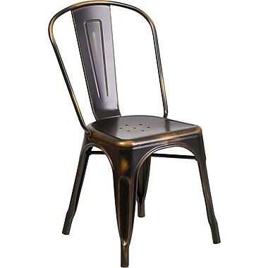 Flash Furniture – Chaise empilable en métal vieilli pour l'intérieur, cuivré (ET3534COP)