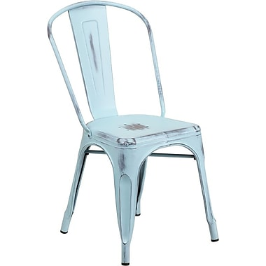 Flash Furniture – Chaise empilable en métal vieilli pour l'intérieur, bleu onirique (ET3534DB)