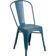 Flash Furniture Distressed Metal Indoor Stackable Chair, Kelly Blue (ET3534KB)