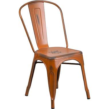 Flash Furniture – Chaise empilable en métal vieilli pour l'intérieur, orange (ET3534OR)