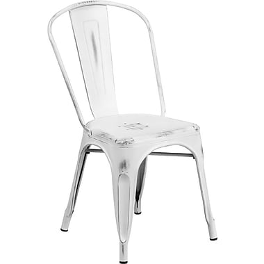 Flash Furniture Distressed White Metal Indoor Stackable Chair (ET3534WH)
