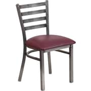 Flash Furniture HERCULES Series Clear Coated Ladder Back Metal Restaurant Chair, Burgundy Vinyl Seat (XUDG694CLADBURV)