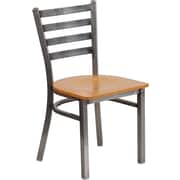 Flash Furniture HERCULES Series Clear-Coated Ladder-Back Metal Restaurant Chair, Natural Wood Seat (XUDG694CLADNATW)