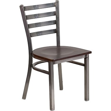 Flash Furniture HERCULES Series Clear Coated Ladder Back Metal Restaurant Chair - Walnut Wood Seat (XUDG694CLADWALW)
