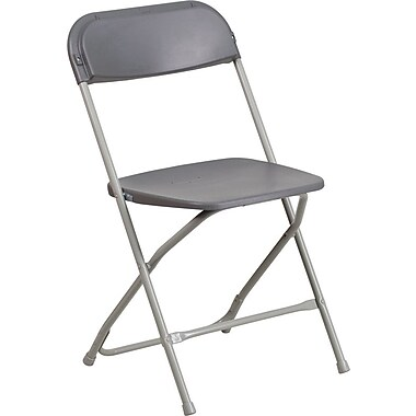 Flash Furniture HERCULES Series 800lbs Capacity Premium Plastic Folding Chair, Grey (LEL3GREY)