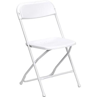 Flash Furniture – Chaise pliante en plastique série HERCULES de luxe, capacité de 800 lb, gris (LEL3WHITE)
