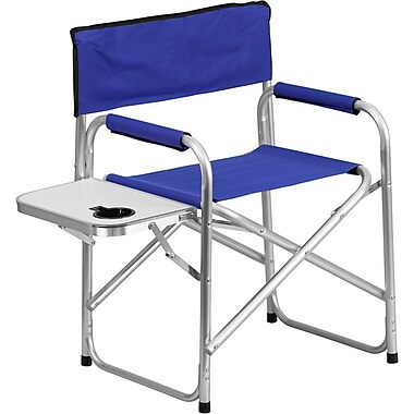 Flash Furniture Aluminum Folding Camping Chair with Table and Drink Holder, Blue (TY1104BL)