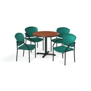"OFM  42"" Round Laminate Multi-Purpose X-Series Table with 4 Chairs, Cherry Table/Teal Chair (PKG-BRK-155-0002)"
