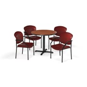 "OFM PKG-BRK-156-0002 42"" Round Laminate Multi-Purpose X-Series Table with 4 Chairs, Cherry Table/Wine Chair (PKG-BRK-156-0002)"