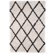 Anji Mountain 5' x 8' Ivory Silky Shag Rug With Gray Diamond (AMB0657-0058)