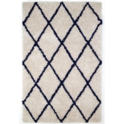 Anji Mountain 8' x 10' Ivory Silky Shag Rug With Navy Diamond (AMB0658-0810)