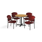 """OFM  42"""" Round Laminate Multi-Purpose X-Series Table with 4 Chairs, Oak Table/Wine Chair (PKG-BRK-156-0017)"""