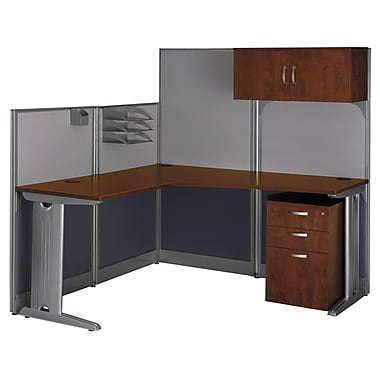 Bush Business Office in an Hour 65W x 65D L-Workstation with Storage and Accessory Kit, Hansen Cherry, Installed