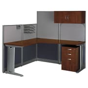 Bush Business Office in an Hour 65W x 65D L-Workstation with Storage and Accessory Kit, Hansen Cherry