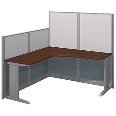 Bush Business Furniture Office in an Hour 65W x 65D L-Workstation, Hansen Cherry (WC36494-03K)