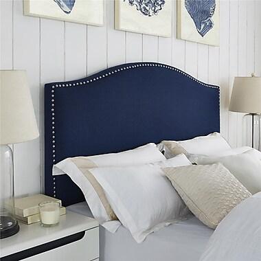 Dorel Living – Tête de lit en lin avec têtes de clous, grand lit/deux places, bleu marine