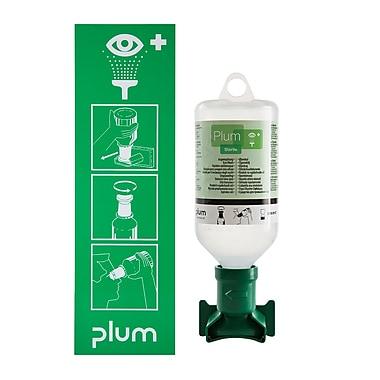 Plum — Poste économique de lavage oculaire et fixation ouverte, 500 mL, bouteille saline avec œilleton stérile