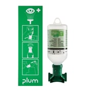 Plum Single Open Mount Pictogram Eyewash Station with 500mL Saline Bottle with Eyecup and Sterile