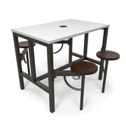 OFM Endure Series Standing Height Four Seat Table, Walnut/White (9004-WLT-WHT)
