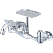 Central Brass Double Handle Wall Mounted Kitchen Faucet with Soap Dish