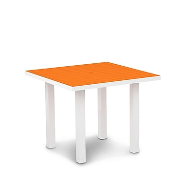 POLYWOOD Euro Dining Table; Textured White Aluminum Frame / Tangerine