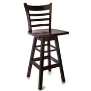 Benkel Seating Ladder 30'' Swivel Bar Stool; Dark Mahogany