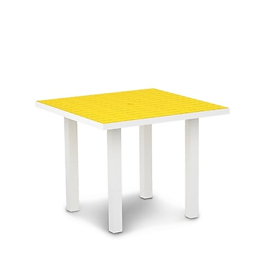POLYWOOD Euro Dining Table; Textured White Aluminum Frame / Lemon