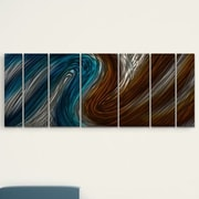All My Walls 'Warm and Cool Currents' by Ash Carl 7 Piece Graphic Art Plaque Set