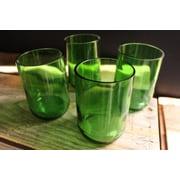 Bottles & Wood Wine Bottle Tumbler Glass (Set of 4); Green