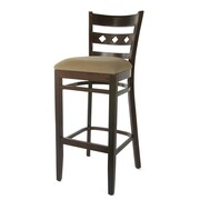 Benkel Seating Duno 30'' Bar Stool; Walnut / Tan Microfiber