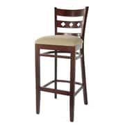 Benkel Seating Duno 30'' Bar Stool; Dark Mahogany / Cream Microfiber