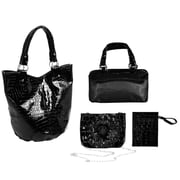Parinda Adria Black Croco Embossed Faux Leather Tote (02035)