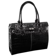 McKlein USA Francesca L Series Black Faux Patent Croco Leather Ladies Business Tote (11105)