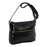 Parinda Ashen Black Croco Textured Faux Leather Crossbody (11132)