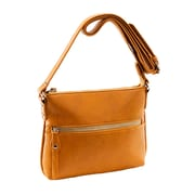 Parinda Ashen Mustard Tan Textured Faux Leather Crossbody (11134)