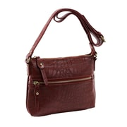 Parinda Ashen Red Textured Faux Leather Crossbody (11136)