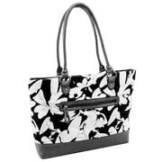 Parinda Allie Black Floral Gray Quilted Fabric with Croco Faux Leather Tote (11160)