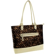 Parinda Allie Bronze Quilted Fabric with Croco Faux Leather Tote (11162)