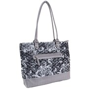 Parinda Allie Gray Floral Quilted Fabric with Croco Faux Leather Tote (11163)