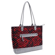 Parinda Allie Red Floral Gray Quilted Fabric with Croco Faux Leather Tote (11166)