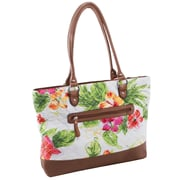 Parinda Allie White Floral Brown Quilted Fabric with Croco Faux Leather Tote (11167)