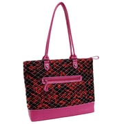 Parinda Allie Red Floral Pink Quilted Fabric with Croco Faux Leather Tote (11169)